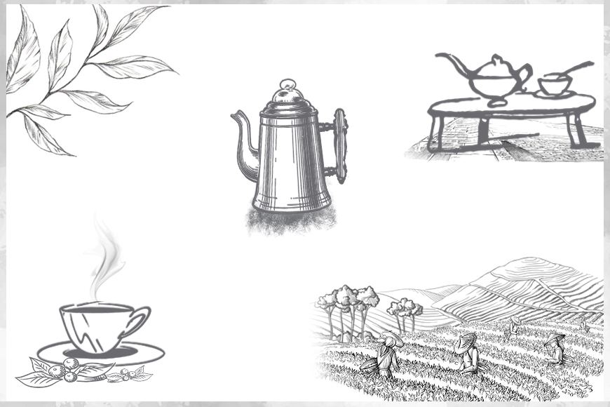 Various apparatus like tea pots, kettle, cups and tea gardens